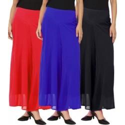 La Verite Regular Fit Women's Red, Black, Blue Trousers