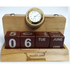 Wooden Pen Stand - Analog Clock & Calendar